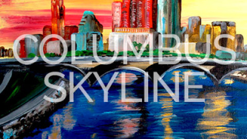 "Feb 25th, 2017: ""Columbus Skyline"" Canvas Painting @ Studio 614"